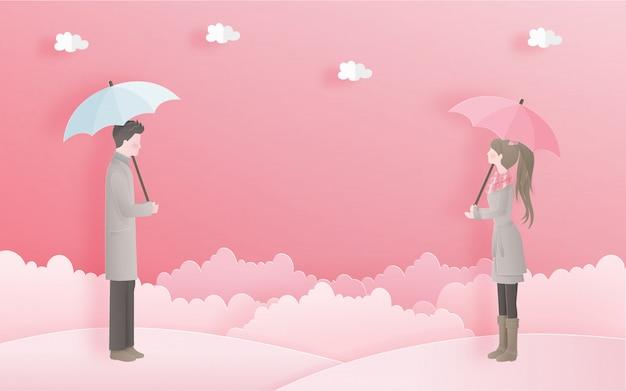 Lindo casal para cartão do dia dos namorados com o conceito de amor no estilo de corte de papel doce