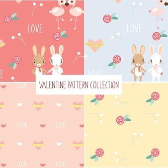 Lindo casal romântico animais repetir coleção padrão