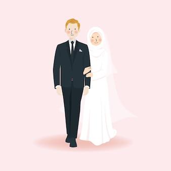 Lindo casal romântico de casamento muçulmano de mãos dadas e caminhando juntos