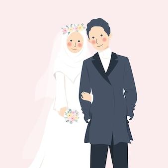 Lindo casal romântico de casamento muçulmano de mãos dadas