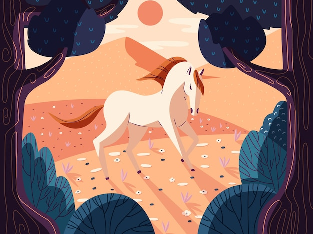 Lindo cavalo colorido na natureza.