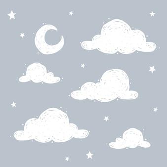 Lindo céu com lua crecente, nuvens e estrelas