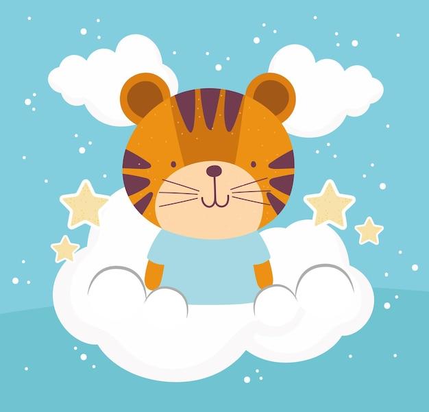 Lindo céu de tigre. estilo cartoon