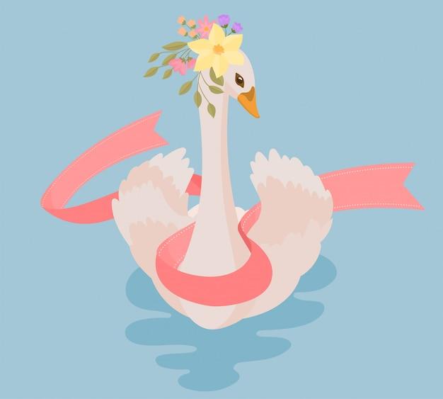 Lindo cisne no lago com fita