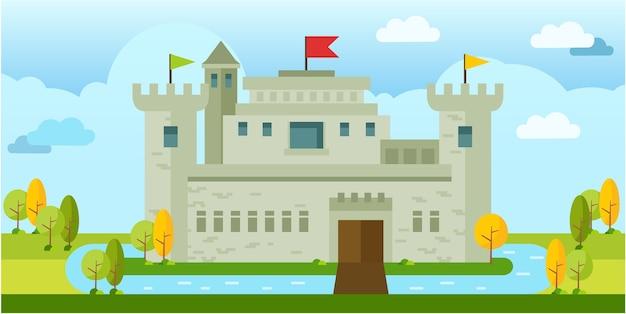 Lindo clássico velho castelo vector plana