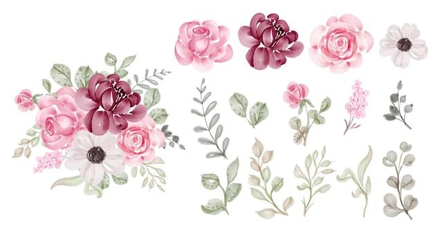Lindo clipart em aquarela de folhas e flores