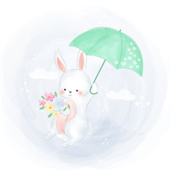 Lindo coelho branco voando com guarda-chuva