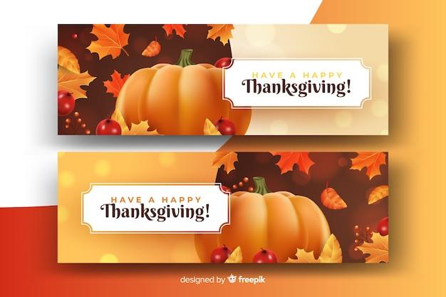 Lindo conceito de outono em banners realistas de ação de graças