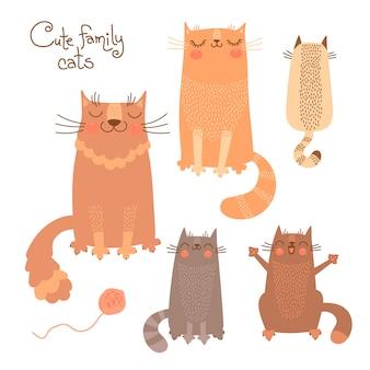 Lindo conjunto com gatos e gatinhos. ilustração vetorial