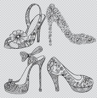 Lindo conjunto com sapatos de moda elegante