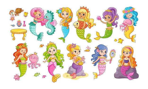 Lindo conjunto com sereias em estilo cartoon. ilustração em vetor no tema marinho.