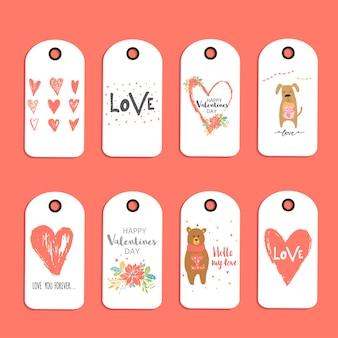 Lindo conjunto de 8 cartão-presente de dia dos namorados, etiqueta, etiqueta, emblema com coração, ursinho de pelúcia e letras de amor. elementos de design de mão desenhada para impressão, cartaz, convite, decoração de festa. vetor.