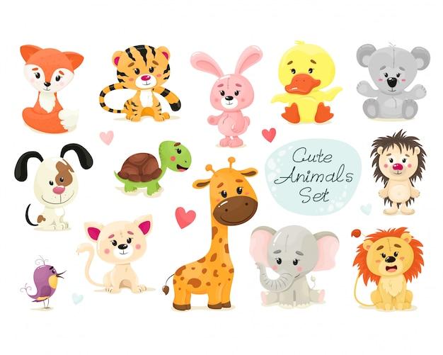 Lindo conjunto de animais. animal isola em estilo simples dos desenhos animados. fundo branco.