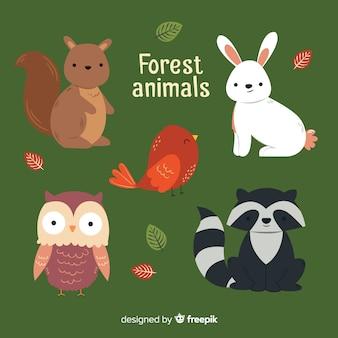 Lindo conjunto de animais da floresta de inverno