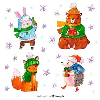 Lindo conjunto de animais de inverno em aquarela