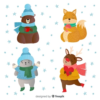 Lindo conjunto de animais de inverno mão desenhada