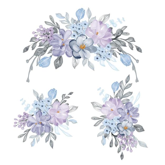 Lindo conjunto de arranjo de flores lilás