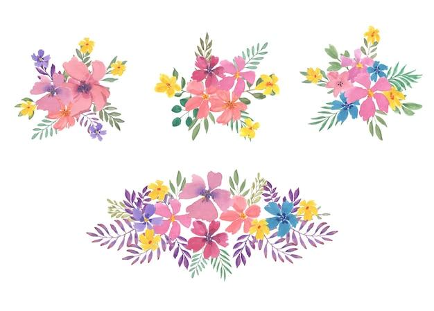 Lindo conjunto de arranjos de flores em aquarela