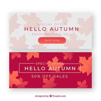 Lindo conjunto de banners de outono com design realista