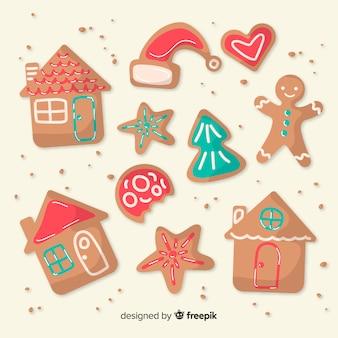 Lindo conjunto de biscoitos de gengibre de natal