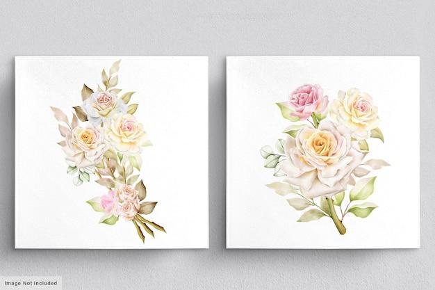 Lindo conjunto de buquês de flores em aquarela