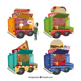 Lindo conjunto de caminhão de comida com estilo divertido
