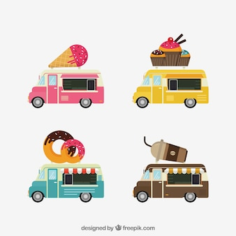 Lindo conjunto de caminhões de alimentos coloridos