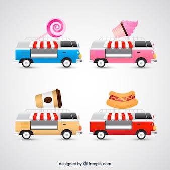 Lindo conjunto de caminhões de comida