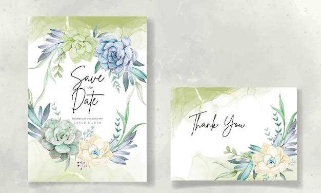 Lindo conjunto de cartão de convite de casamento em aquarela de flores suculentas