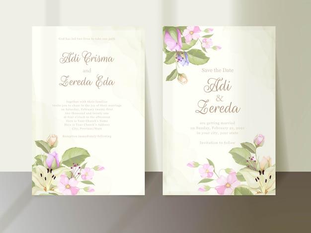 Lindo conjunto de cartão de convite de casamento floral e folha