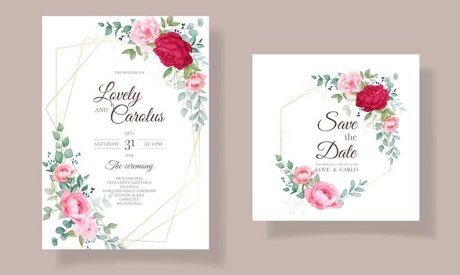 Lindo conjunto de cartão de convite de casamento floral em flor