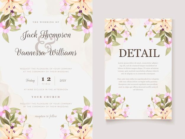Lindo conjunto de cartão de convite de flores de lírio floral