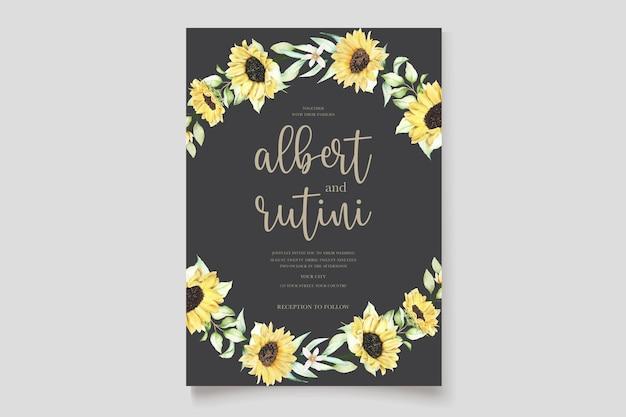 Lindo conjunto de cartão de convite de girassol aquarela desenhado à mão