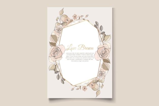 Lindo conjunto de cartão de convite floral de primavera