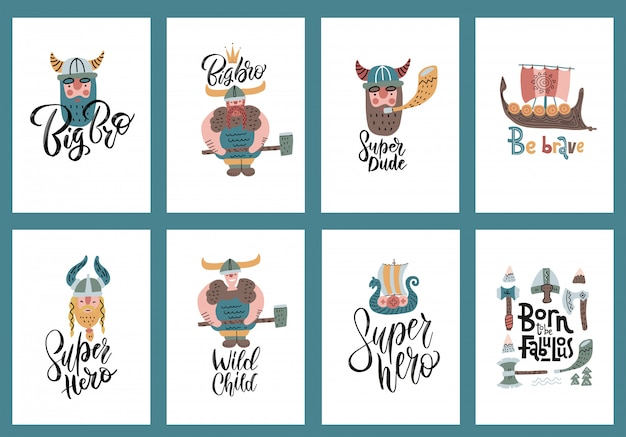Lindo conjunto de cartazes de personagens de desenhos animados de tamanho a4 vikings, estilo escandinavo com letras.