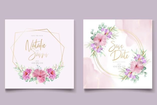 Lindo conjunto de cartões de convite de casamento de rosas desenhadas à mão e lírio