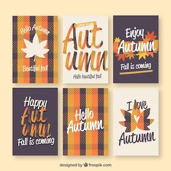 Lindo conjunto de cartões de outono com design plano