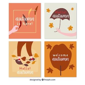 Lindo conjunto de cartões de outono mão desenhada