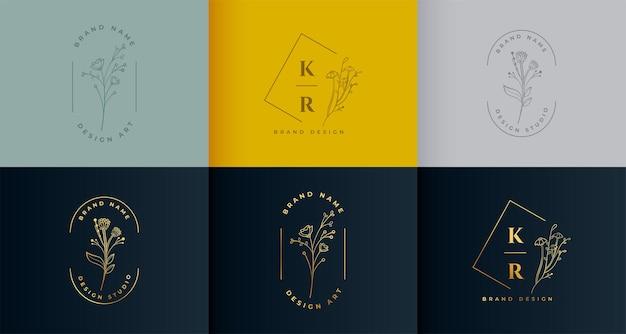 Lindo conjunto de coleção de logotipo floral