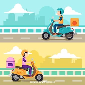 Lindo conjunto de conceito de entrega de scooter
