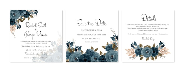 Lindo conjunto de convite de casamento floral rústico azul índigo