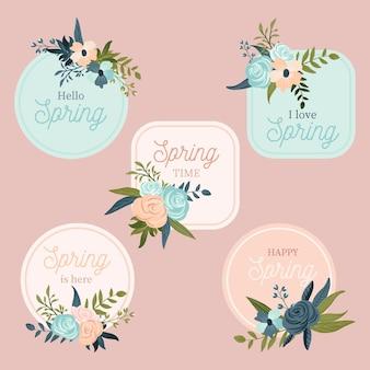 Lindo conjunto de crachá de primavera