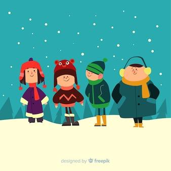 Lindo conjunto de crianças com roupas de inverno