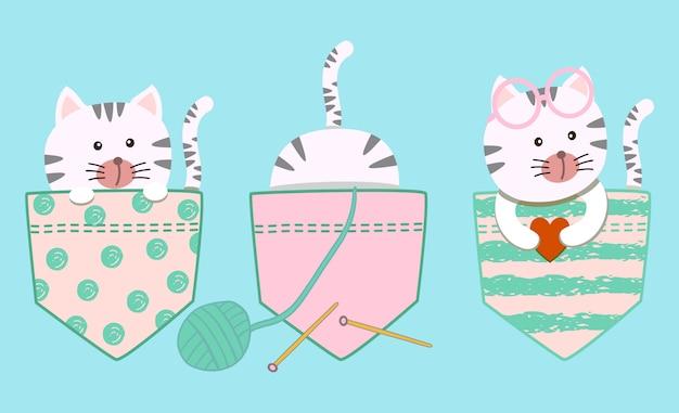 Lindo conjunto de desenhos animados gatinho gato branco menina no bolso de tshirt