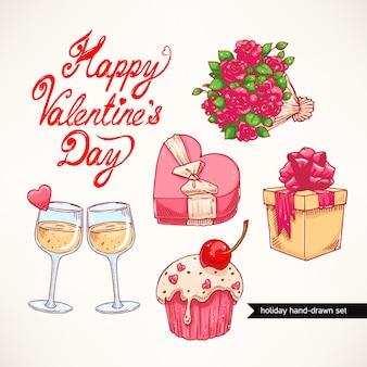 Lindo conjunto de dia dos namorados com presentes, flores e taças de champanhe Vetor Premium