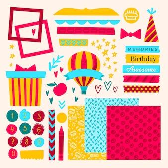Lindo conjunto de elementos de álbum de recortes de aniversário