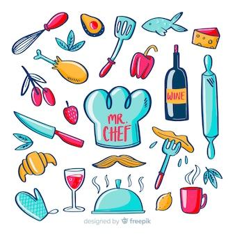 Lindo conjunto de elementos de chef mão desenhada