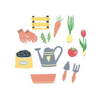 Lindo conjunto de elementos de jardinagem.