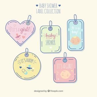 Lindo conjunto de emblemas de bebê mão desenhada