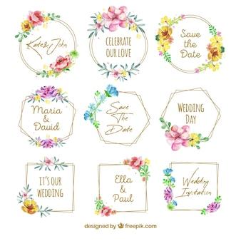 Lindo conjunto de emblemas de casamento floral